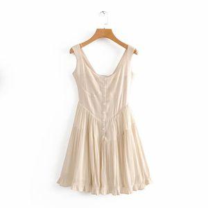 Casual Dresses Ruched Dress Women 2021 Summer Black Boho Beach Ladies Vintage Mini Swing Korean Button Up Sleeveless