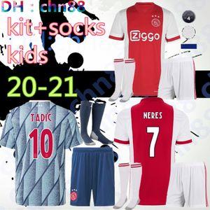 Thai Qualität 2020 2021 Ajax FC Kinder Kits + Socken Fußball-Trikot 20 21 KLAASSEN FISCHEA Bazoer MILIK Uniformen Shirt Baby Ajax FC Fußball Jersey