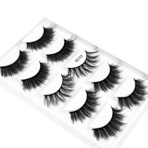 5 Pairs 3D Faux Mink False Eyelashes Natural Thick Handmade Soft Mink Eyelashes Makeup Beauty Extension Tools Fake Lashes