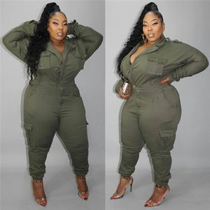 Autumn Womens Designer Jumpsuits Army GreenLapel Neck Mulit Pocket Cargo Rompers Fashion Street Style Female Clothes