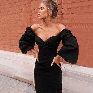 Weinlese-Frauen-eleganten Kleid-Kugel-Kleid-lange PUFFÄRMELN mit eckiger Ausschnitt, figurbetontes Kleid Partei Kleidung für Frühling und Herbst
