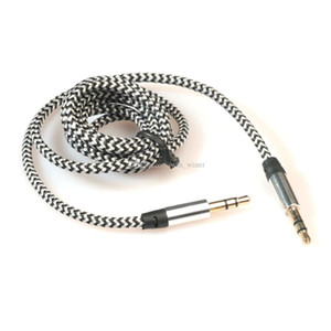 3.5mm Stereo Car Auxiliary metal alloy Audio Cable Male To Male for Smart Phone 5 Color