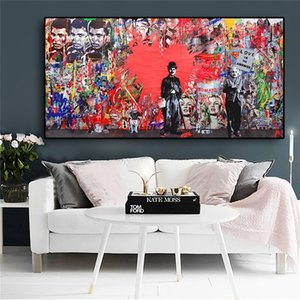 Abstract Wall Art Red Heart Graffiti Street Art Canvas Painting Posters Prints Wall Art Picture for Living Room Modern Home Decor Cuadros