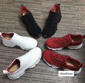 Designer Spike Sock Donna Flat Sneakers Designer Luxury Mens Red Bottom Shoes Womens Rivet Spiky Sock Junior Spikes Sneaker With Box