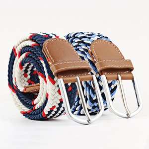 Color Series Men's Elastic Belt Unisex Canvas Belt Elastic Woven Pin Buckle