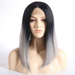 Fashion Cheap Short Bob Lace Front Wig Ombre Gray Short Straight Fiber Hair Heat Resistant Synthetic Lace Front Wig for Black Women