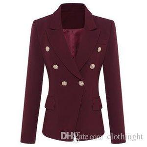 paño Seamyla 2019 capa de las mujeres de moda botones del oro doble de pecho Pista Escudo de manga larga elegante rojo púrpura Ourterwear Coats J1