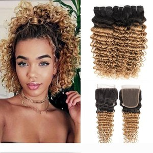 1B 27 Ombre Honey Blonde Deep Wave Hair Bundles with Closure 3 Bundles With 4x4 Lace Closure Brazilian Remy Human Hair Extensions