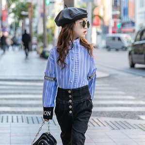 Fashion new big kids stripe shirt children stand collar ruffle letter ribbon long sleeve shirt old girls beaded buckle casual tops A3501