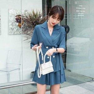 Elegant Office Ladies Pant Suit Women Summer 2 Pieces Set Lace-up Jacket & Loose Shorts 2020 New Female Short Suits