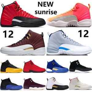 새로운 12 무지개 빛깔의 반사 12S Jumpman 농구 신발 역 독감 게임 일출 대학 골드 CNY 흰색 어두운 회색 FIBA 운동화 망