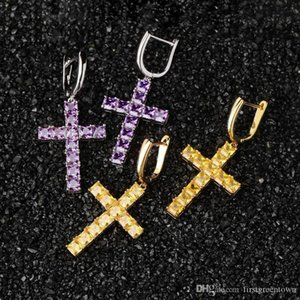 Full Colors Diamonds Women Dainty Cross Hoop Earrings Gold Plated CZ Stone Diamond Pave Earrings Cross Fashion Jewelry
