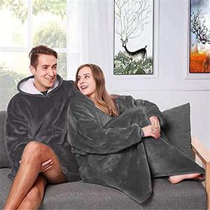 Couverture en peluche à capuchon extérieur hiver à capuchon manteaux pour adultes Réchauffez Slant capuche Robe Peignoir Sweat Fleece Blanket Pull pour homme femme