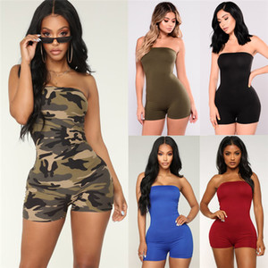 Women Off shoulder Romper mini playsuits Sexy Bodycon Club Casual Fitness Strappy Tube Sleeveless Jumpsuits Outfits Summer set