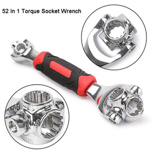 52 in 1 Socket Wrench Rotary Spanner Work with Spline Bolts 360 Degree Rotation Spanner Universal Furniture Car Repair Hand Tool