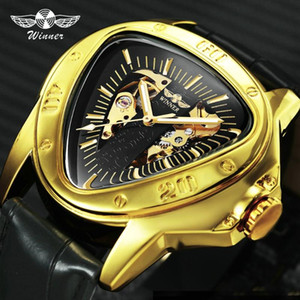 T-Winner Fashion Men Auto Mechanical Watch Leather Band Inverted Triangle Shaped Case Skeleton Dial Design Unique Gift + BOX