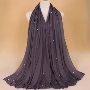 QA252 180-90CM Sıcak Satış Kadınlar Düz Turban Müslüman Vintage Uzun Eşarp Başörtüsü Kadın İnci Jersey Hajab