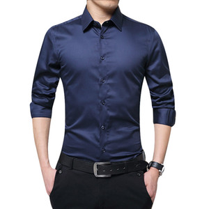 Newly Men's Casual Solid Color Slim Up Shirts Tops Simple Men Long Sleeve Shirts Business Formal For Summer Autumn