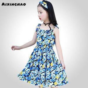 Aixinghao 여자 비치 드레스 여름 sundress에 대한 여자 파티 의류 꽃 쉬폰 청소년 의류 키즈 6 8 10 12 14 년