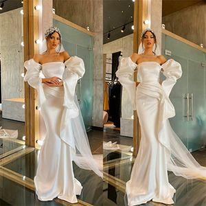 Sexy Mermaid Wedding Dresses Capped Sleeves Strapless Ruched Satin Garden Wedding Dress Generous Custom Made Long Robes De Mariée Cheap