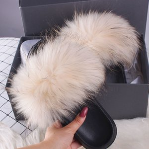 Ethel Anderson Women Slippers Slides Fashion Plus Real Fox Flip Flops Summer Fur Flat Sandals Shoes Top Selling Y200624