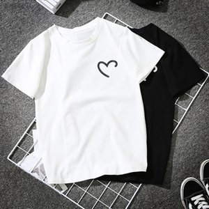 Women Girls Plus Size Heart Shaped Print Tees Shirt Short Sleeve T Shirt Black White Streetwear O Neck Couple Short Clothes Top