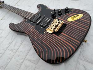 lotes personalizado cebra de madera de la guitarra eléctrica, de madera diapasón de cebra, 24 caracteres, el hardware de oro, S-26, el pelo personalización