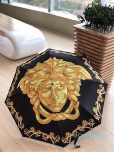 versace Goldene Göttin Print Regenschirm Art und Weise neu Rundgriff Regenschirm Schwarz Weinlese-Muster Regenschirm mit Geschenk-Kasten
