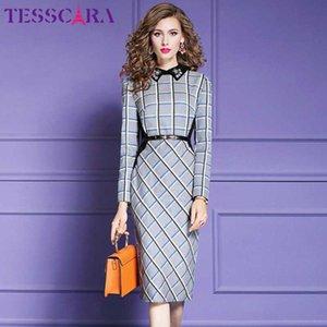 TESSCARA mujeres otoño invierno elegante del partido de oficina de las mujeres vestido de tela escocesa del traje de alta calidad de la vendimia rebordear Vestidos Diseñador Lápiz