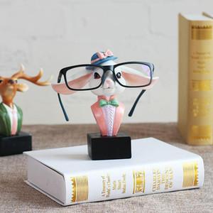 Rabit Glasses Stand Handmade Resin Craft Lovely Eyeglass Sunglasses Holder Animal Ornament Figurine Home Decor Vase love gifts