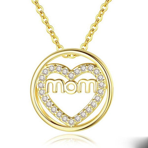 Letter MOM Necklace Women Heart Crystal Pendant Necklaces Chain Choker Necklace for Mother's Day Gift Jewelry