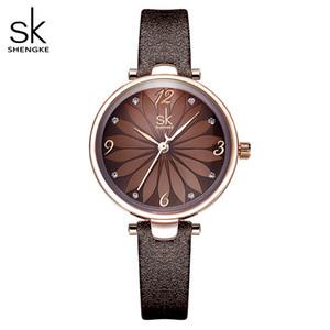 Shengke Leather Watch Flower Dial Women Quartz Wristwatches Quartz Analog Women Watch Casual Ladies Watches Reloj Mujer