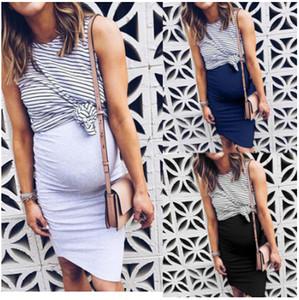 Maternity Dresses Le donne a due pezzi falso Gravidanza vestito estivo a righe patchwork Nursing casuale L'allattamento al seno