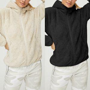 Женщины 2020 Черный абрикос Осень Твердая капюшоном Тедди искусственного меха пальто с длинным рукавом зимы Zipper Casual Карман флисовой куртки и пиджаки
