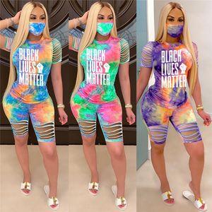 Women Summer designer black lives Matter tie-dye two piece sets tracksuits burn out pullover Short Sleeve T-shirt+Shorts no mask 3321