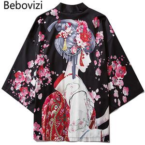 yığın Asya Pasifik Adaları Giyim Siyah Moda Streetwear Güzellik Kimono Hırka Robe Çin Haori Obi Geleneksel japa Baskı bebovizi ...