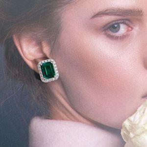 Women's Luxury Fashion Jewelry Designer Earrings Gorgeous Sterling Sliver Green Created Sapphire Stud Earrings for Women Jewelry