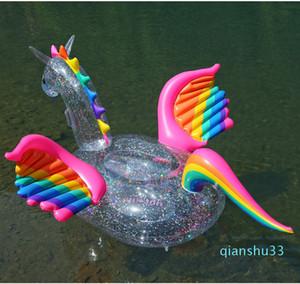 Großhandels-Neuer 180cm Einhorn Pool Float Transparent Regenbogen-Pegasus-Pferde Schwimmen Ring Inflatable Holographic Glitter Erwachsene Kinder-Wasser-Spaß