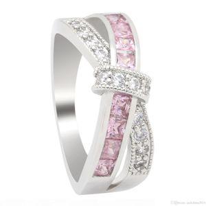 H Victoria Wieck neue Frauen arbeiten Schmuck 10kt weißes Gold füllte Multi -Gemstones Princess Cut Cz Diamant-Hochzeit Mädchen Gürtel Ring für