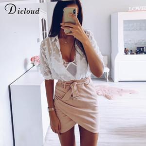 DICLOUD Sexy Fashion Woman White Blouses 2020 Long Sleeve Beach Tunic Elegant Dot Shirt Casual Chiffon Blouse Black Female CX200709