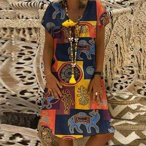ZANZEA Women Summer Short Sleeve Cotton Linen Dress Vestido Robe Kaftan Femme Vintage V neck Floral Printed Party Sundress 5XL