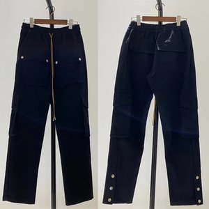 Best Quality Metal buttons Black Rhude Pants Multifunction Cargo Flap Pockets Overalls Men Women Cargos Pants Trousers