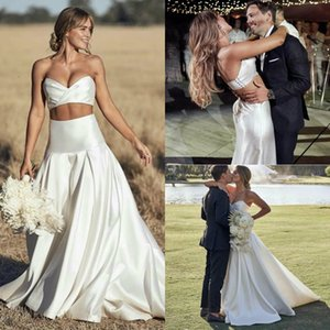 Elegant Satin Wedding Dresses 2 Pieces Sweetheart Neck Backless Bridal Gowns Boho Simply Style Sweep Train A Line Wedding Dress