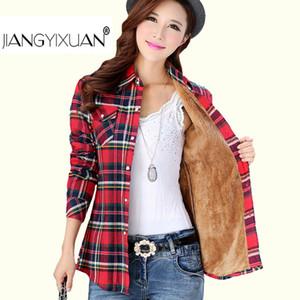 Kalın kadife blusas kış pamuk uzun kollu kadın ekose gömlek flanel bluzlar Feminina kombinezon femme camisas Femenina üstleri