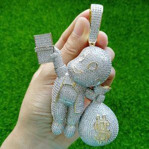 Grande taille haute CZ pierres en laiton qualité Sac Cartoon argent Pendentif Hip hop Collier bijoux bling bling Glacé