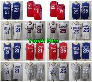 Stitched 2020 Youth Mens Philadelphia76ersJersey 21# Joel Embiid 25# Ben Simmons Statement Performance Swingman Basketball Jersey