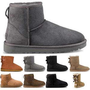 women boots womens boots booties Hohe Qualität WGG Damen-Stiefel Klassische Ankle chestunt Grau Schwarz Marine-Frauen-Schnee-Winter-Bow starten claccic Booties 36-41 eur