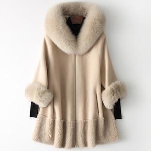 New Coat Moda Fox lã Collar Jacket Casaco de lã quente