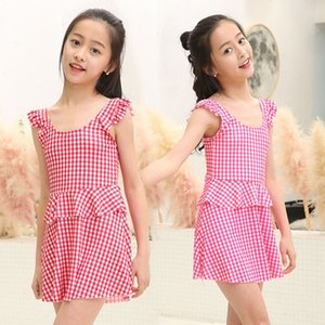 Plaid student girl summer Dress Korean style conservative one-piece skirt swimsuit 11-16 years old children swimsuit