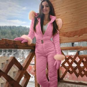 Mujeres de la manera de una pieza del mono de esquí casual cálido invierno gruesa Snowboard Skisuit deportes al aire libre Esquí Pantalón Establece la cremallera de esquí Traje